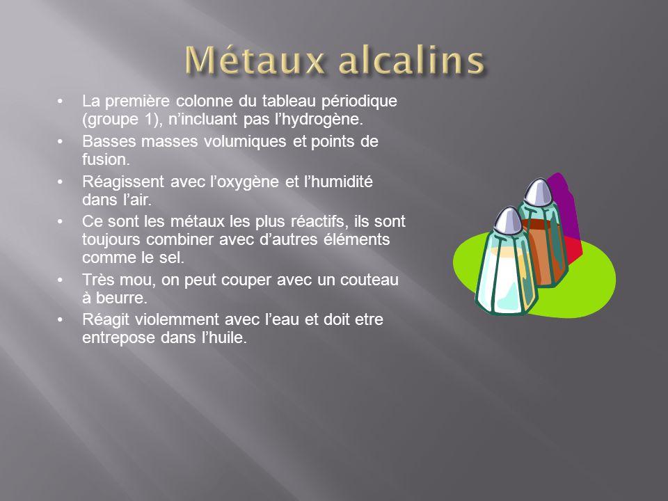 Métaux alcalins La première colonne du tableau périodique (groupe 1), n'incluant pas l'hydrogène. Basses masses volumiques et points de fusion.