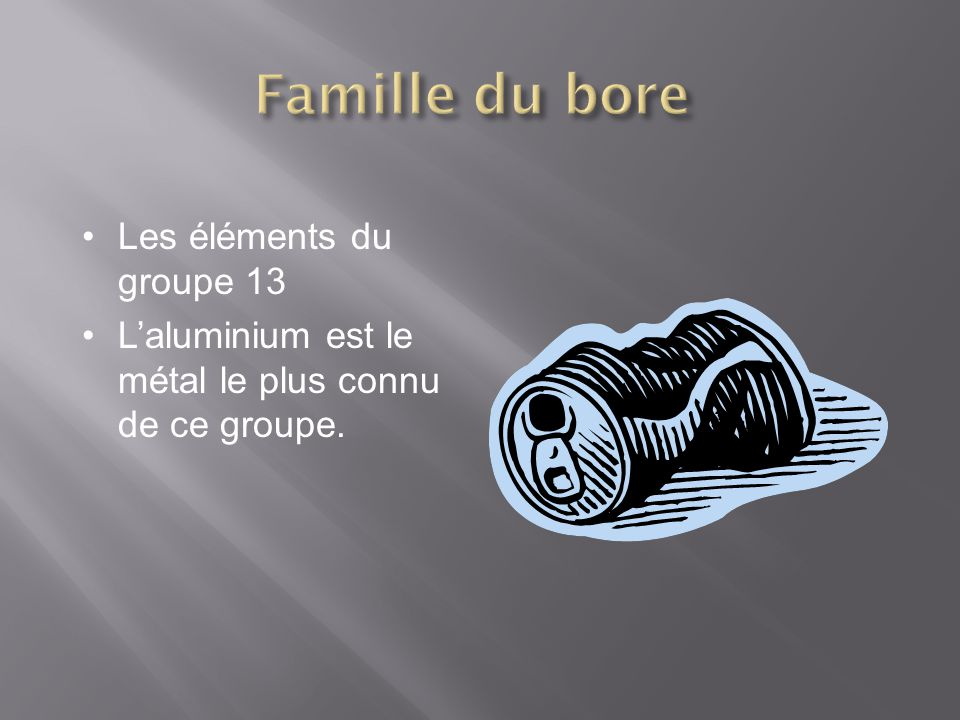 Famille du bore Les éléments du groupe 13