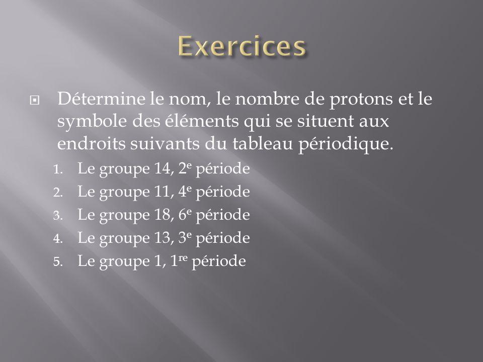 Exercices Détermine le nom, le nombre de protons et le symbole des éléments qui se situent aux endroits suivants du tableau périodique.