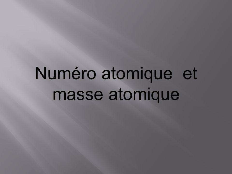 Numéro atomique et masse atomique
