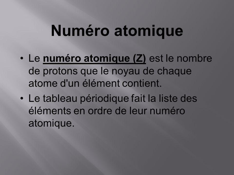 Numéro atomique Le numéro atomique (Z) est le nombre de protons que le noyau de chaque atome d un élément contient.