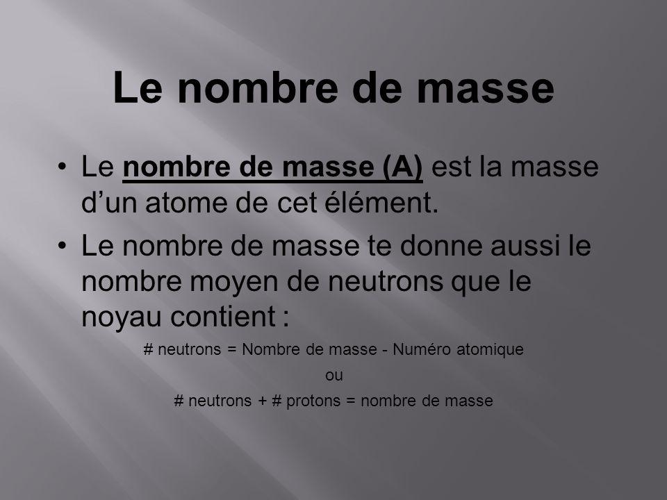 Le nombre de masse Le nombre de masse (A) est la masse d'un atome de cet élément.