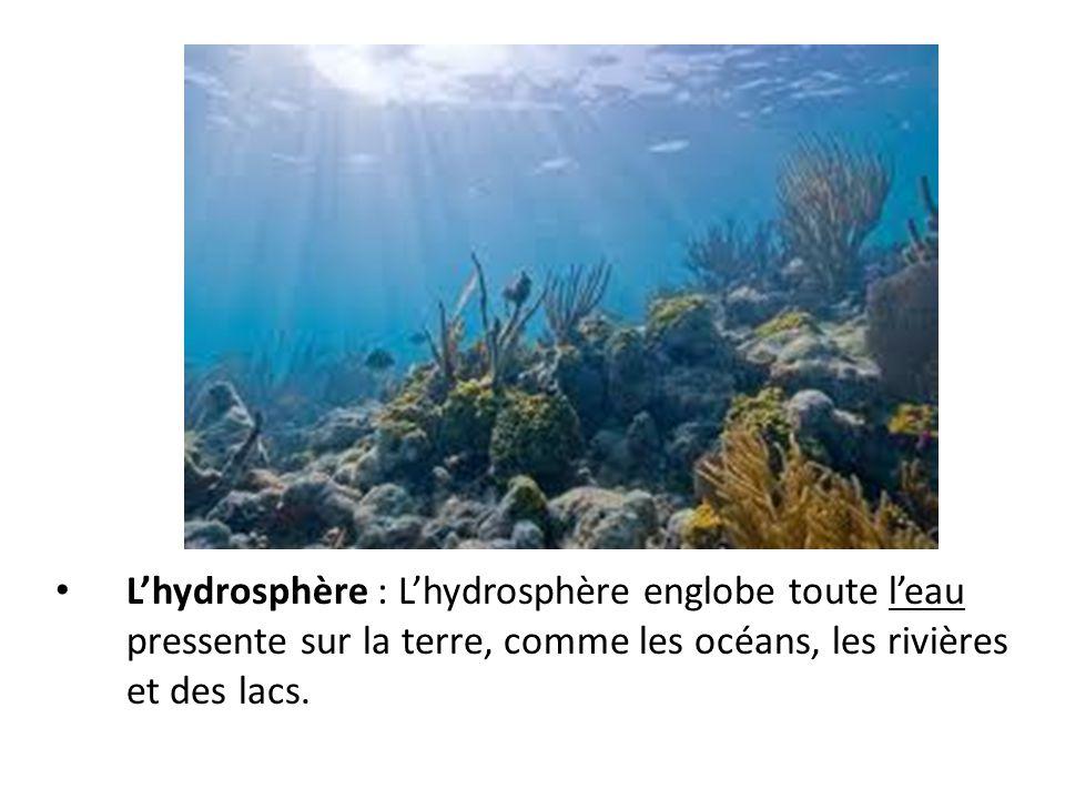 L'hydrosphère : L'hydrosphère englobe toute l'eau pressente sur la terre, comme les océans, les rivières et des lacs.