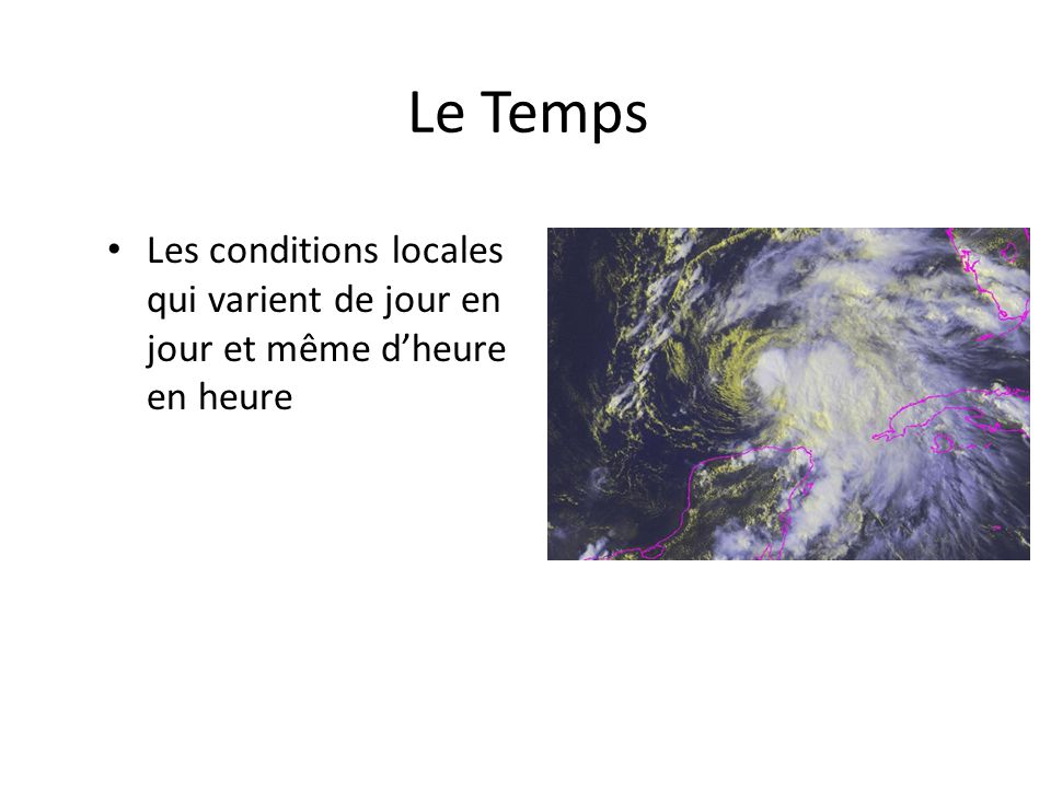 Le Temps Les conditions locales qui varient de jour en jour et même d'heure en heure