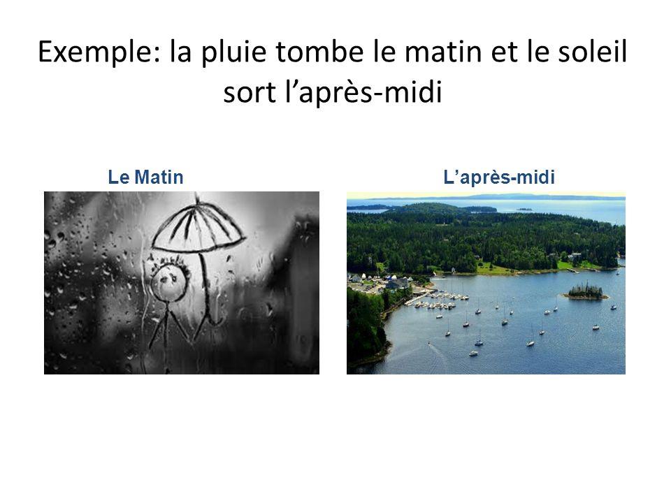 Exemple: la pluie tombe le matin et le soleil sort l'après-midi