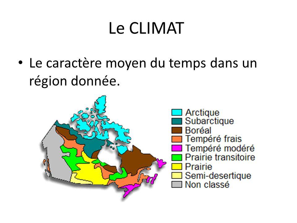Le CLIMAT Le caractère moyen du temps dans un région donnée.