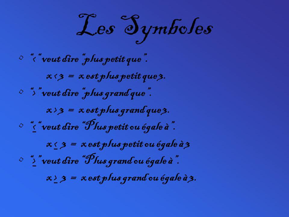 Les Symboles < veut dire plus petit que .