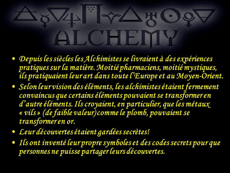 Depuis les siècles les Alchimistes se livraient à des expériences pratiques sur la matière. Moitié pharmaciens, moitié mystiques, ils pratiquaient leur art dans toute l'Europe et au Moyen-Orient.