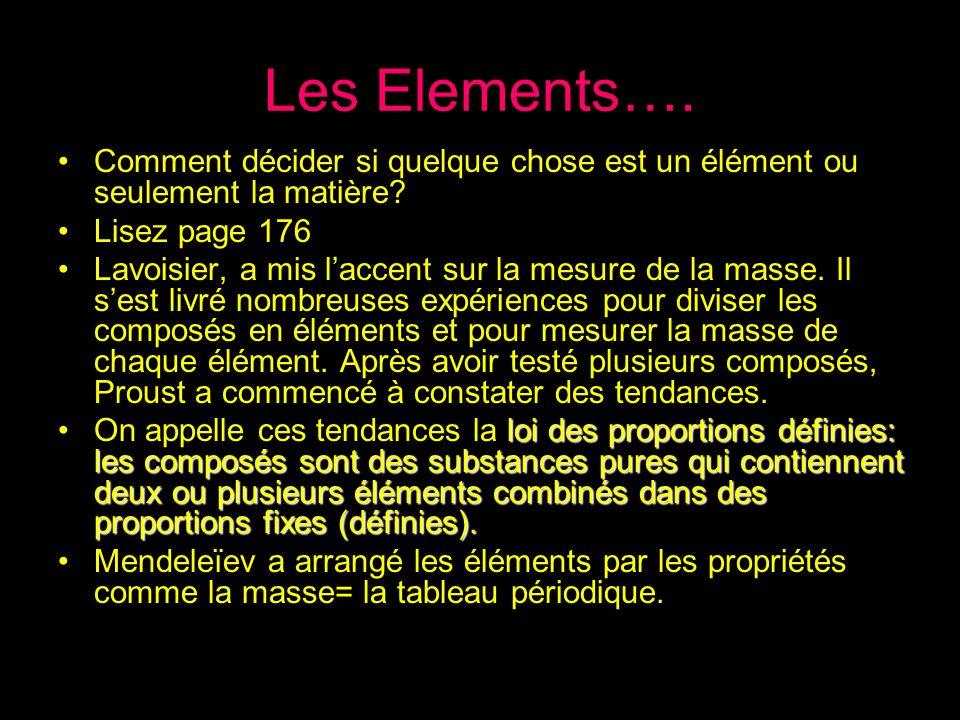 Les Elements…. Comment décider si quelque chose est un élément ou seulement la matière Lisez page 176.