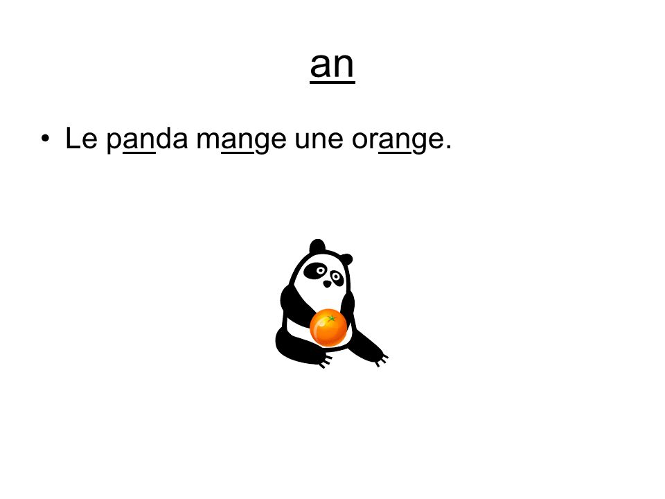 an Le panda mange une orange.