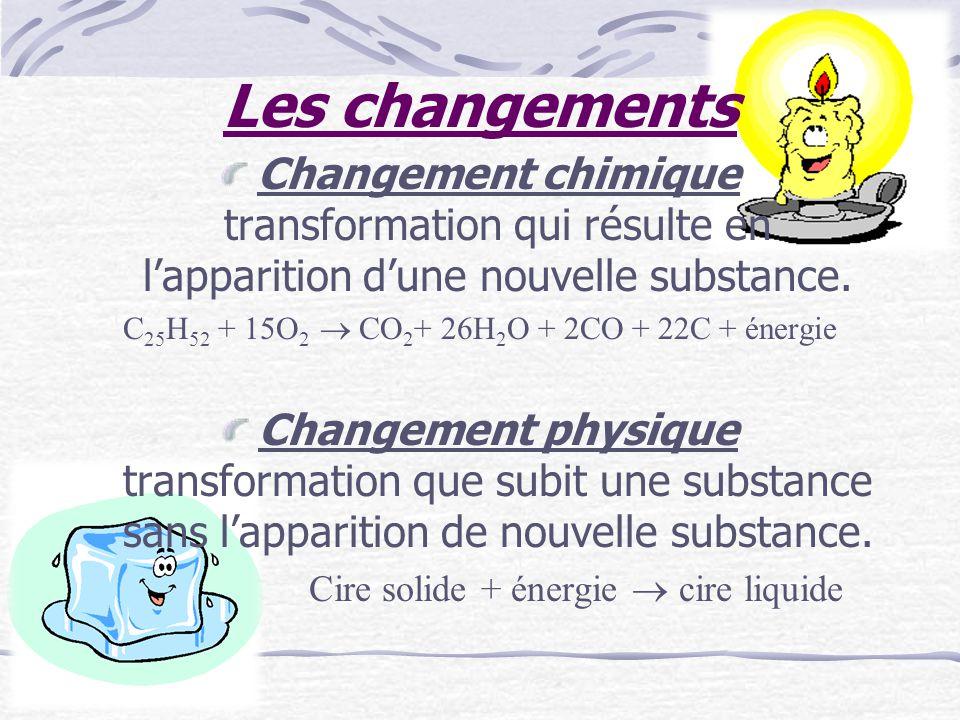 Les changements Changement chimique transformation qui résulte en l'apparition d'une nouvelle substance.