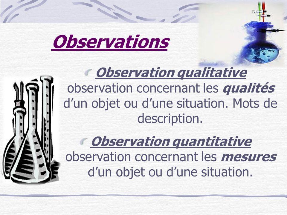 Observations Observation qualitative observation concernant les qualités d'un objet ou d'une situation. Mots de description.