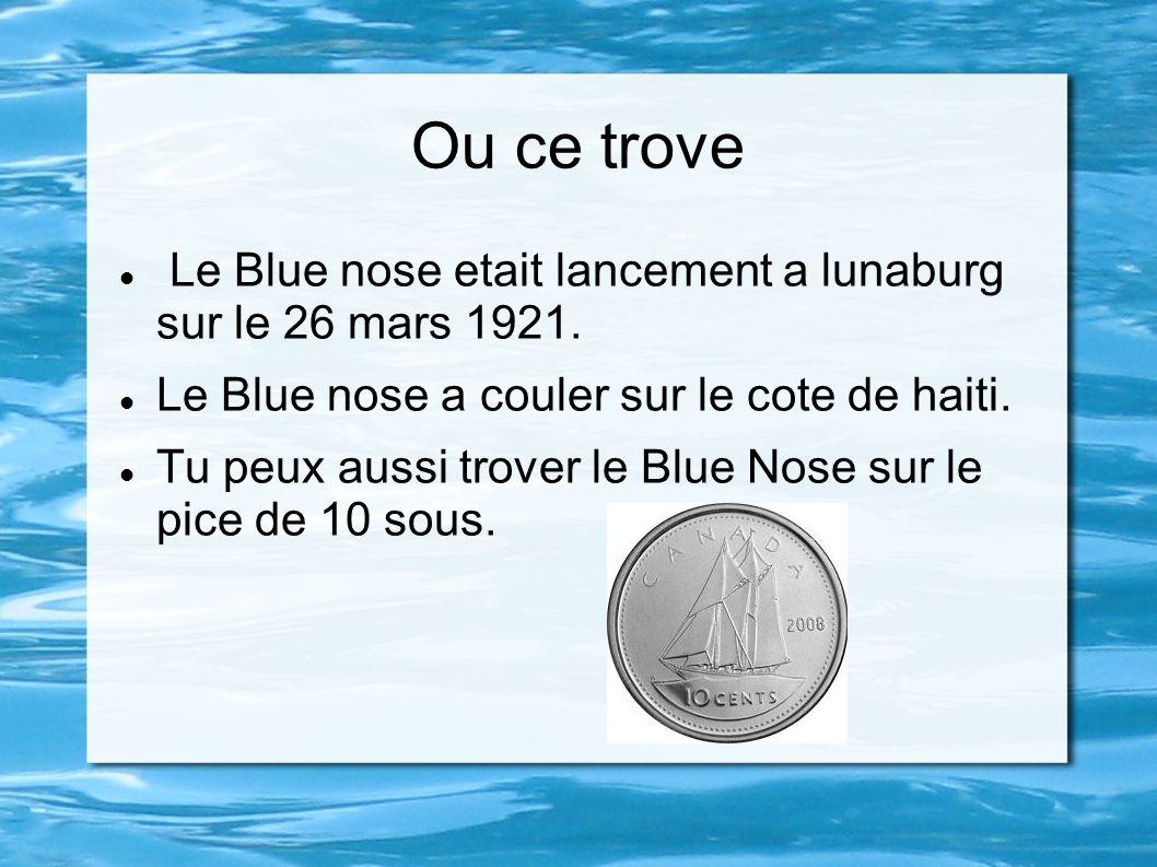 Ou ce trove Le Blue nose etait lancement a lunaburg sur le 26 mars 1921. Le Blue nose a couler sur le cote de haiti.
