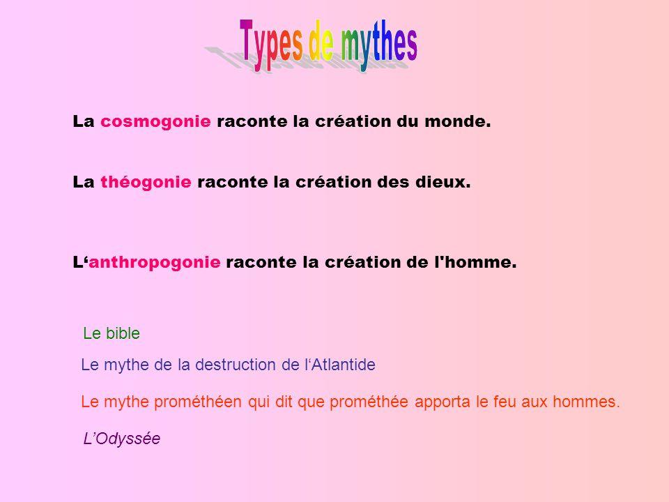 Types de mythes La cosmogonie raconte la création du monde.