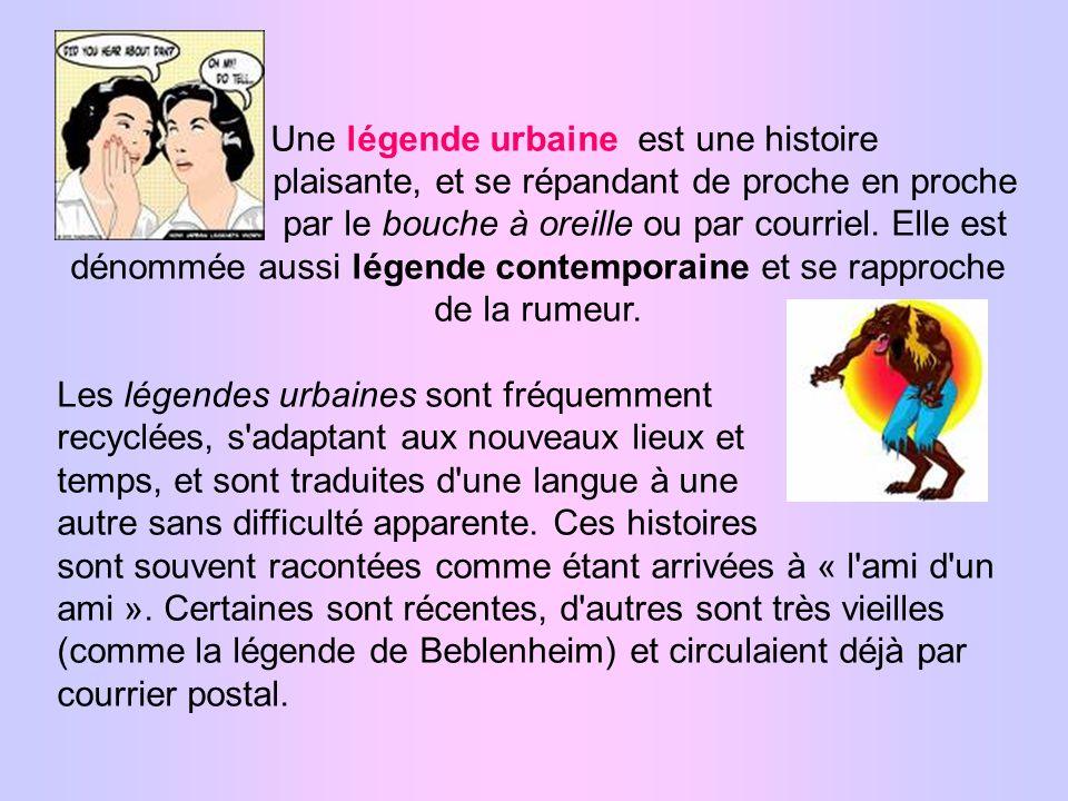 Une légende urbaine est une histoire