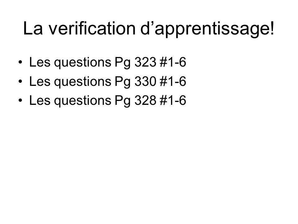 La verification d'apprentissage!