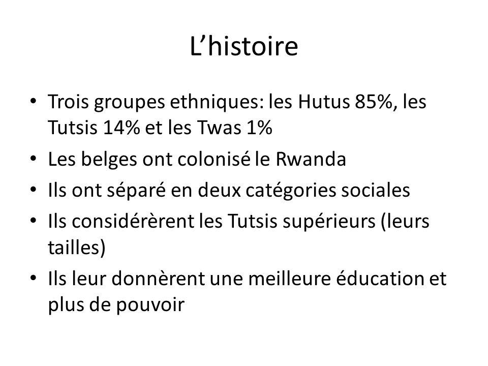 L'histoire Trois groupes ethniques: les Hutus 85%, les Tutsis 14% et les Twas 1% Les belges ont colonisé le Rwanda.