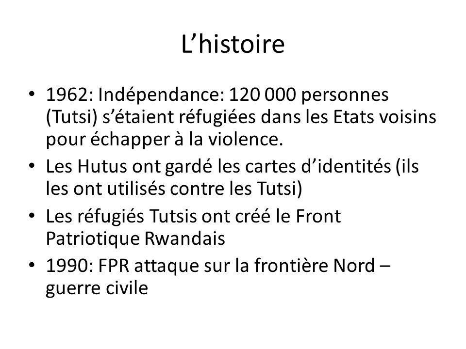 L'histoire 1962: Indépendance: 120 000 personnes (Tutsi) s'étaient réfugiées dans les Etats voisins pour échapper à la violence.