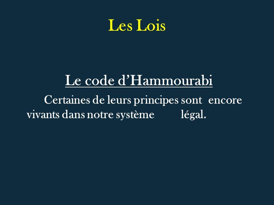 Les Lois Le code d'Hammourabi