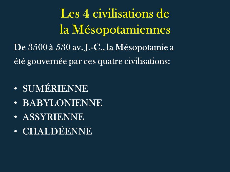 Les 4 civilisations de la Mésopotamiennes
