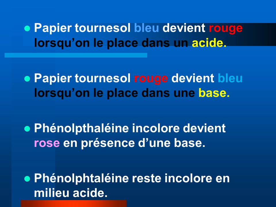 Papier tournesol bleu devient rouge lorsqu'on le place dans un acide.