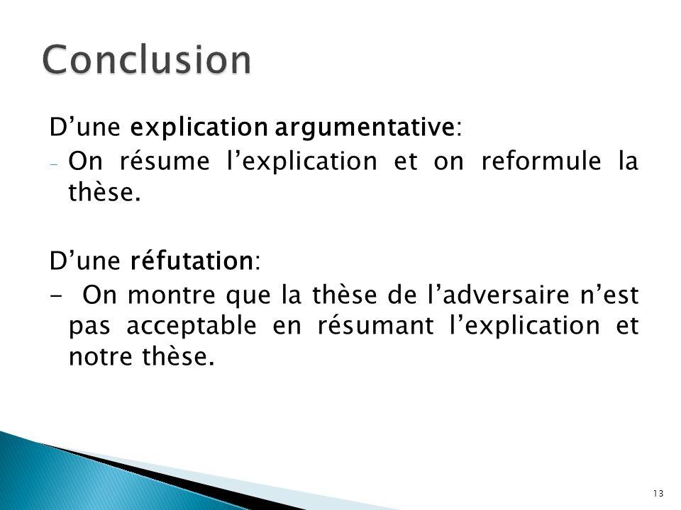 Conclusion D'une explication argumentative: