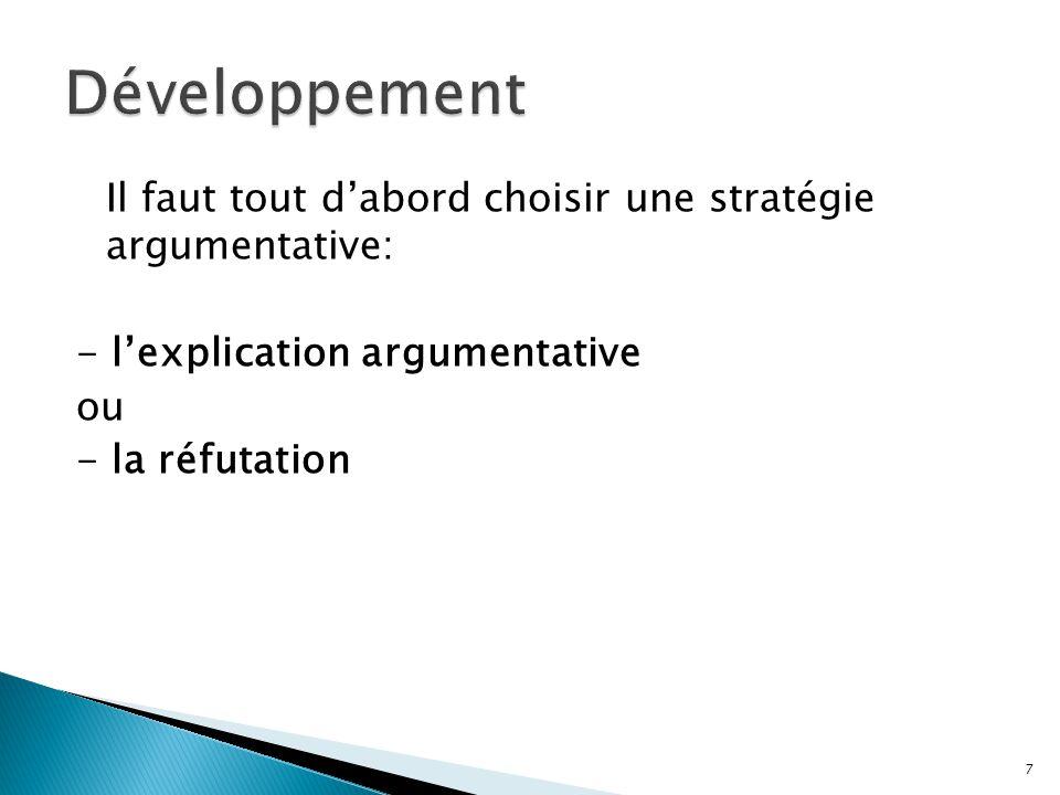Développement Il faut tout d'abord choisir une stratégie argumentative: - l'explication argumentative ou - la réfutation