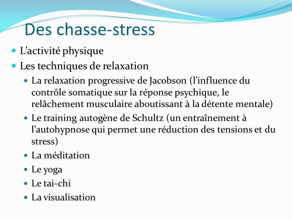 Des chasse-stress L'activité physique Les techniques de relaxation