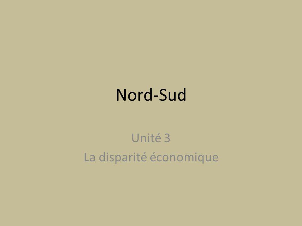 Unité 3 La disparité économique