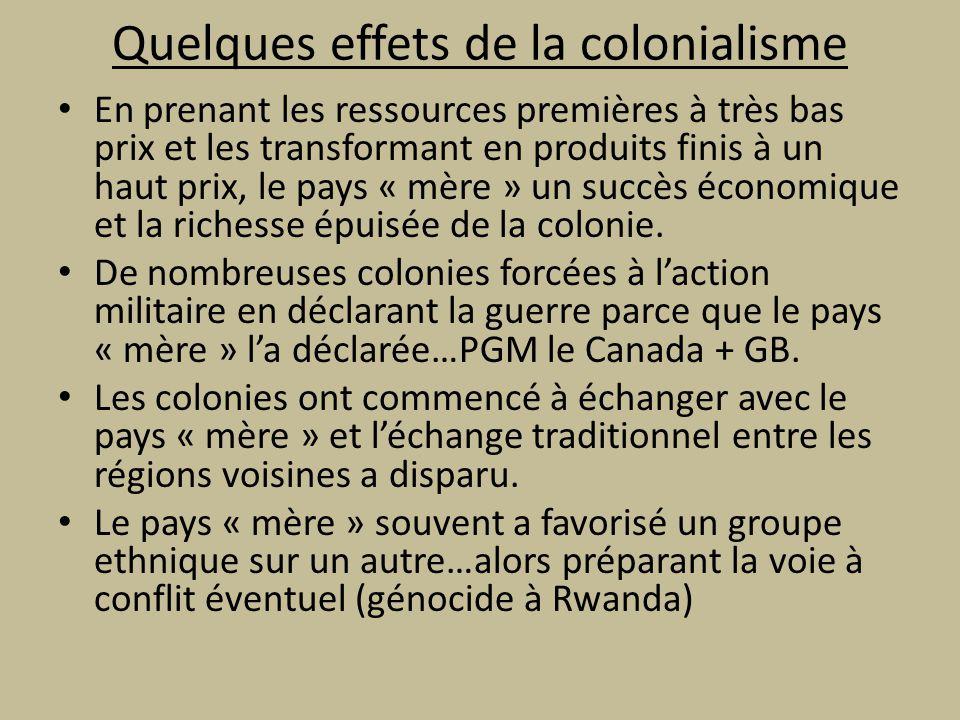 Quelques effets de la colonialisme
