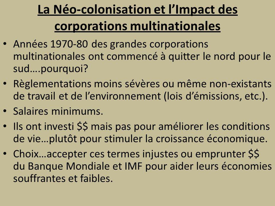 La Néo-colonisation et l'Impact des corporations multinationales