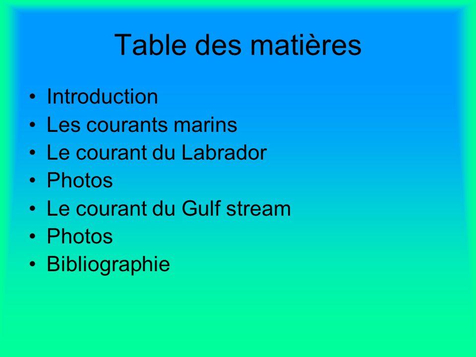 Table des matières Introduction Les courants marins