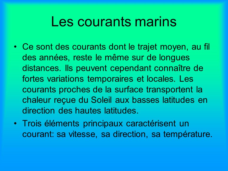 Les courants marins