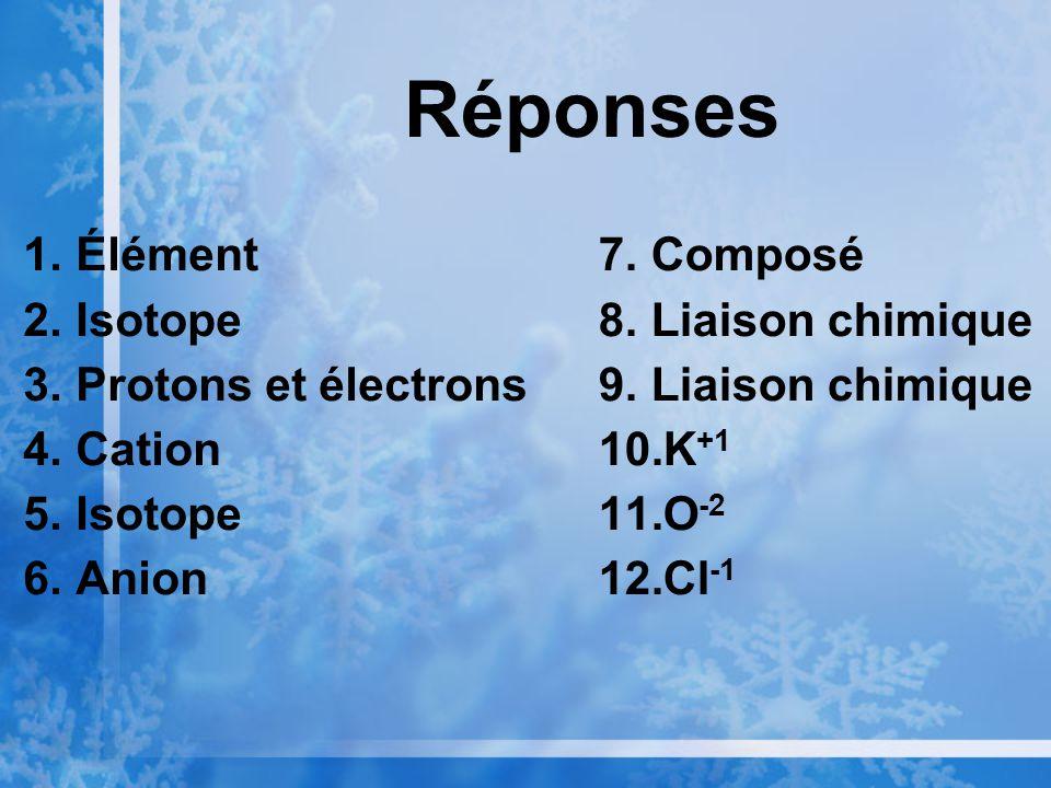 Réponses Élément Isotope Protons et électrons Cation Anion Composé