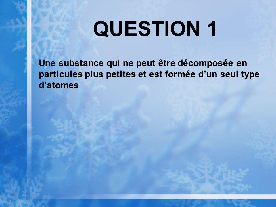QUESTION 1 Une substance qui ne peut être décomposée en particules plus petites et est formée d'un seul type d'atomes.