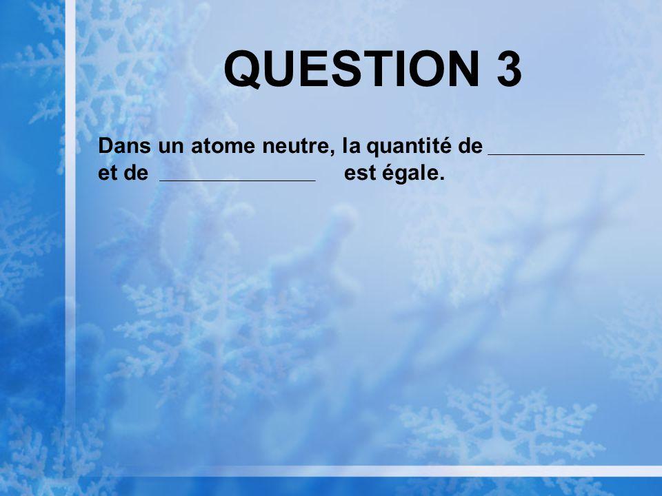 QUESTION 3 Dans un atome neutre, la quantité de et de est égale.