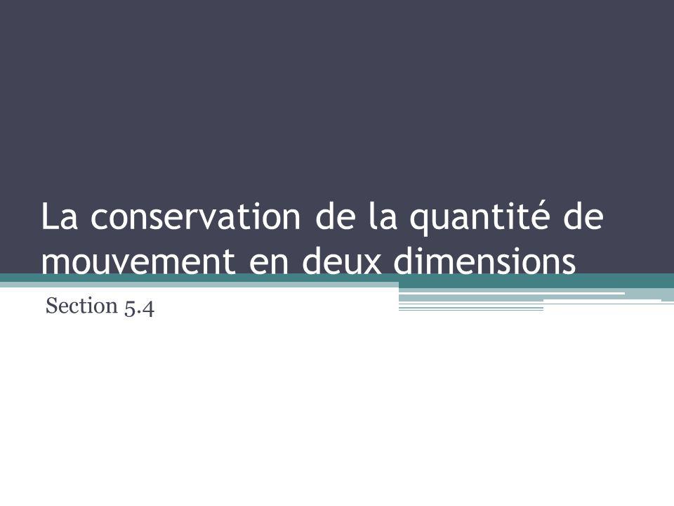 La conservation de la quantité de mouvement en deux dimensions