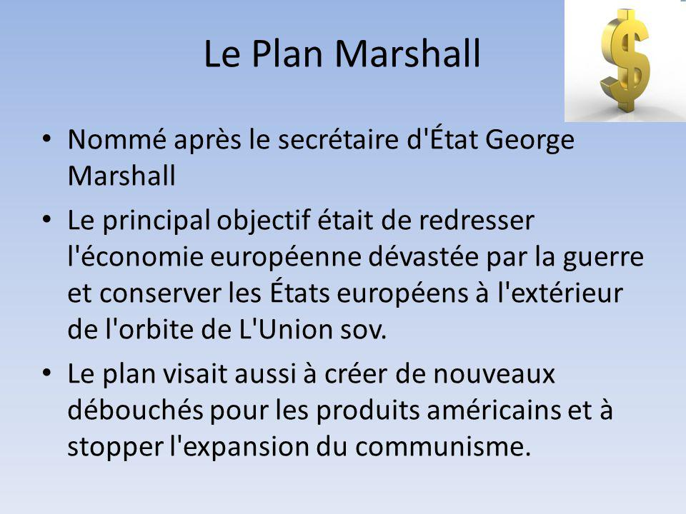 Le Plan Marshall Nommé après le secrétaire d État George Marshall
