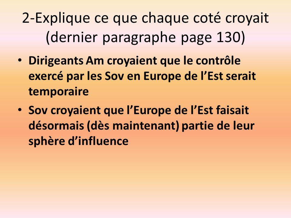 2-Explique ce que chaque coté croyait (dernier paragraphe page 130)