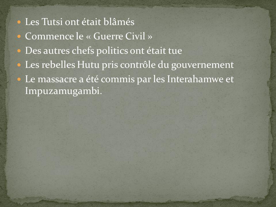 Les Tutsi ont était blâmés