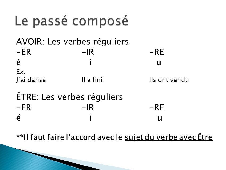 AVOIR: Les verbes réguliers -ER -IR -RE é i u