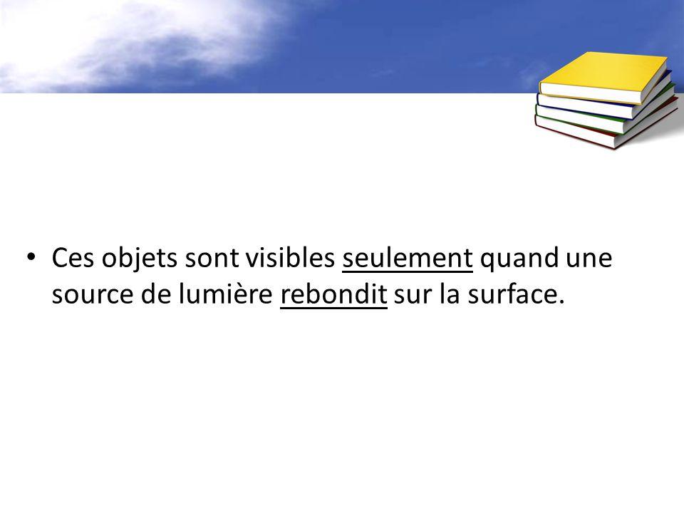 Ces objets sont visibles seulement quand une source de lumière rebondit sur la surface.