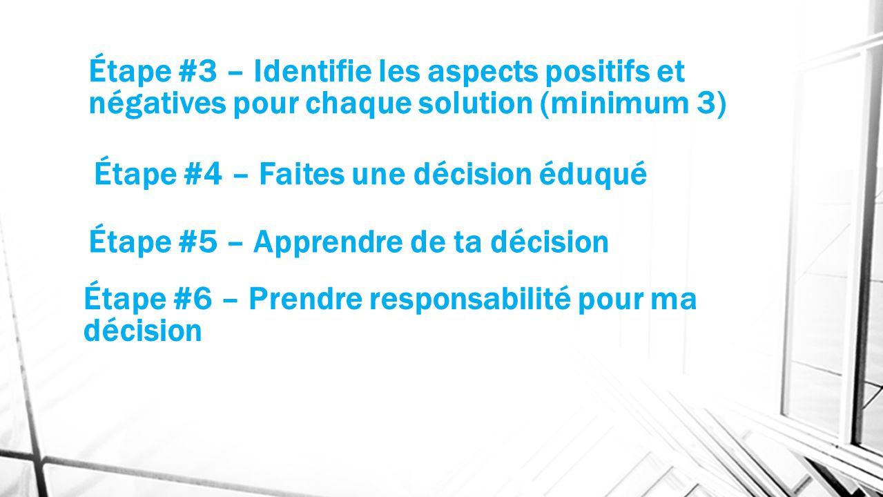 Étape #3 – Identifie les aspects positifs et négatives pour chaque solution (minimum 3)