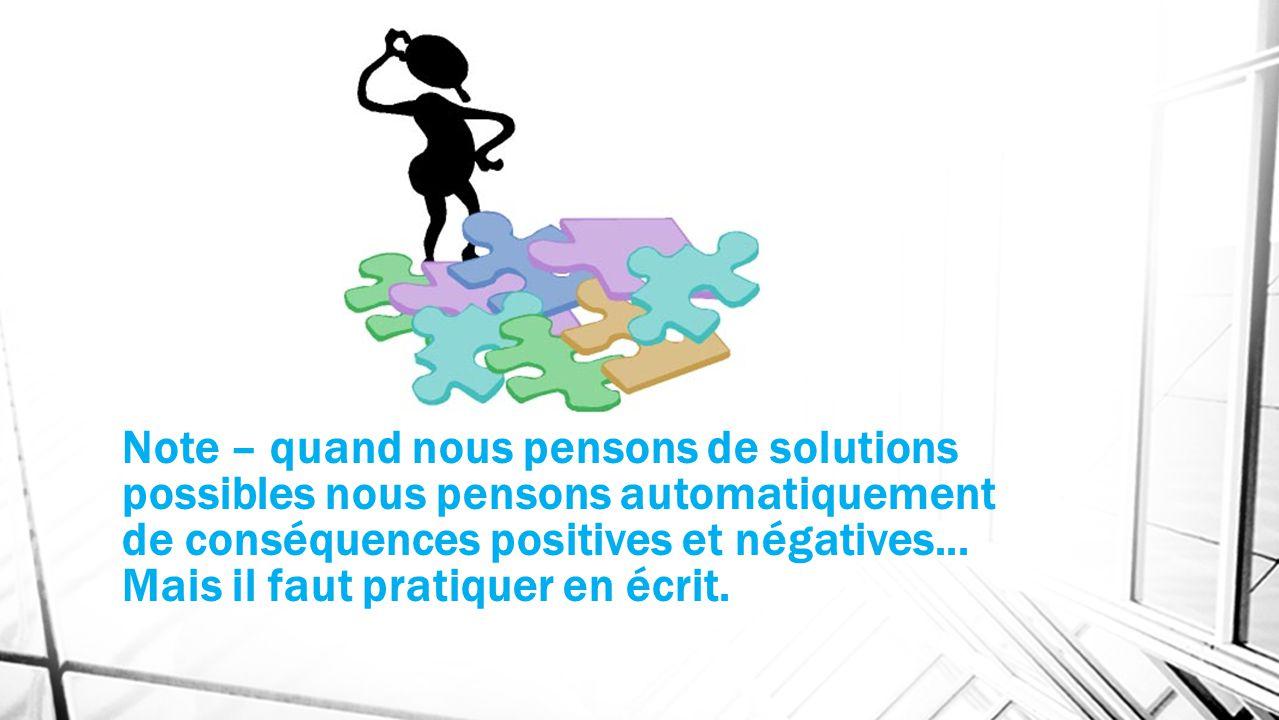 Note – quand nous pensons de solutions possibles nous pensons automatiquement de conséquences positives et négatives...