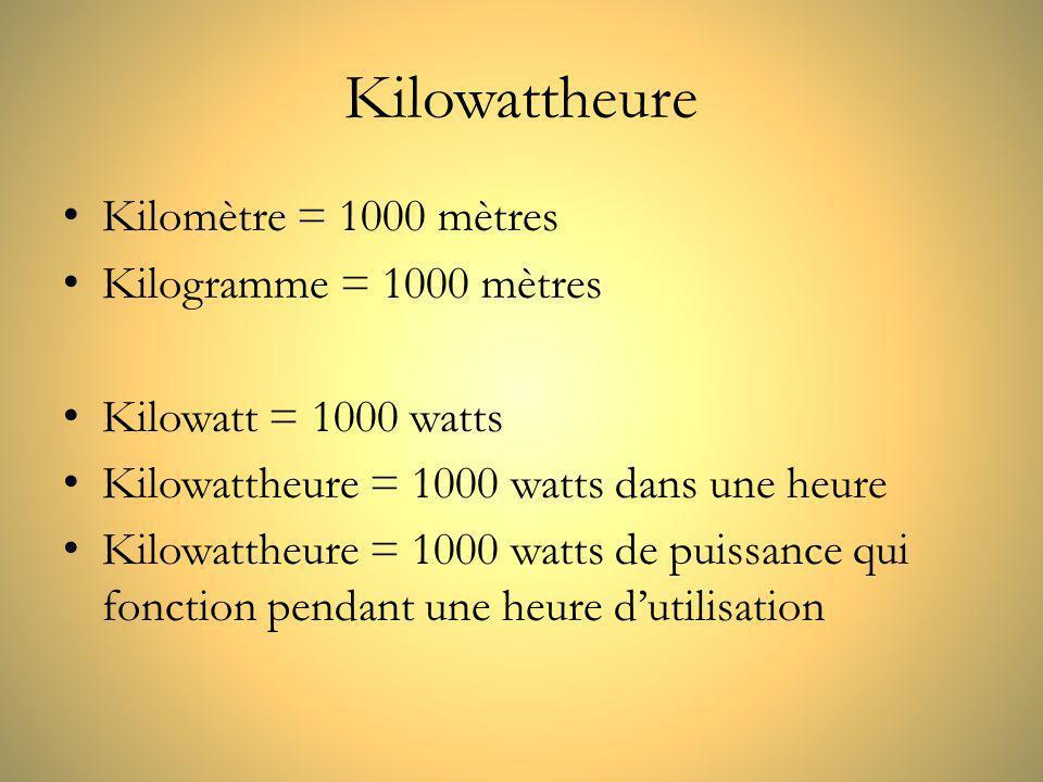 Kilowattheure Kilomètre = 1000 mètres Kilogramme = 1000 mètres
