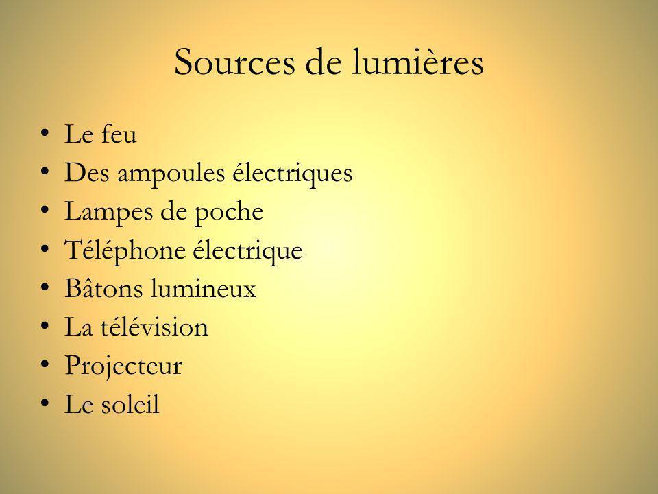 Sources de lumières Le feu Des ampoules électriques Lampes de poche