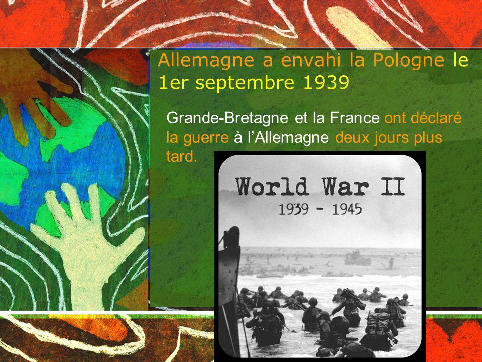 Allemagne a envahi la Pologne le 1er septembre 1939