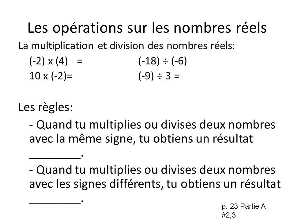 Les opérations sur les nombres réels