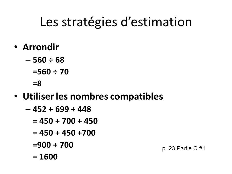 Les stratégies d'estimation