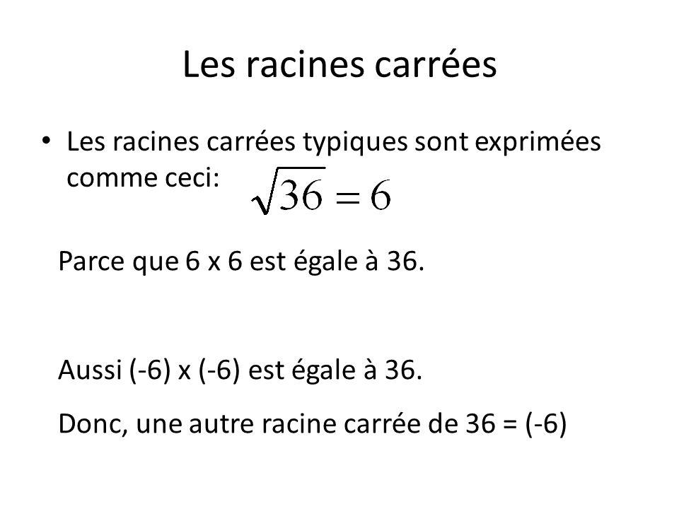 Les racines carrées Les racines carrées typiques sont exprimées comme ceci: Parce que 6 x 6 est égale à 36.